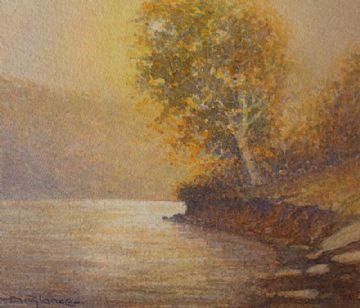 David Rylance Original Watercolour Painting Of A River Landscape